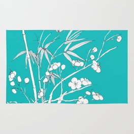 bamboo and plum flower white on blue Rug