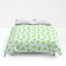Kawaii Happy Frogs on Blue Comforters