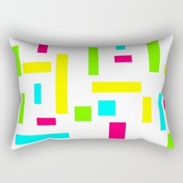 Abstract Theo van Doesburg Composition Neon on White Rectangular Pillow
