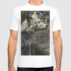 Tom Feiler Wolf MEDIUM Mens Fitted Tee White