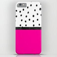 Handdrawn neon pink black watercolor polka dots Slim Case iPhone 6 Plus