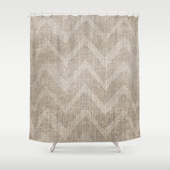 Chevron Burlap Shower Curtain