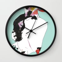 puffin Wall Clocks featuring Puffin by caseysplace