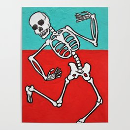 Skeleton Dance by Mike Kraus - skull aceo atc red blue teal halloween spooky collectibles fun Poster