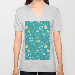 Colourscape Summer Floral Pattern Turquoise Lemon Unisex V-Neck