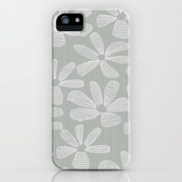 Katalin, lacy daisy in silver grey iPhone Case