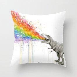 T-Rex Dinosaur Rainbow Puke Taste the Rainbow Watercolor Throw Pillow