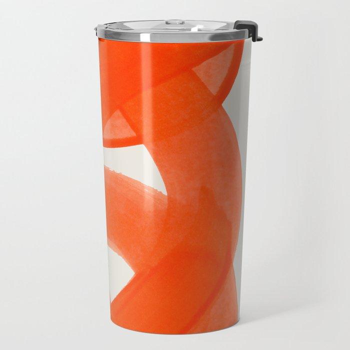 Mid Century Modern Abstract Painting Orange Watercolor Brush Strokes Travel Mug