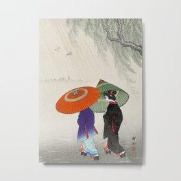Women walking in the rain - Vintage Japanese Woodblock Print Metal Print