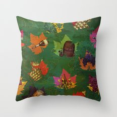 Autumn Grapes and Wine Throw Pillow