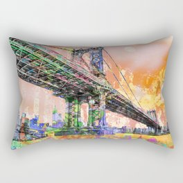 New York City Manhattan Bridge Gold Rectangular Pillow