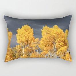 Golden Aspens and an Impending Storm Rectangular Pillow