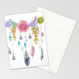 Spirit Gazer With Crystals And Succulents Stationery Cards