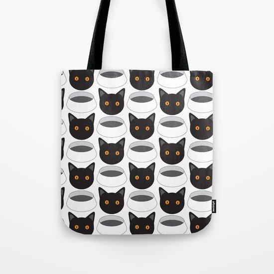 Cat Face & Bowl Tote Bag
