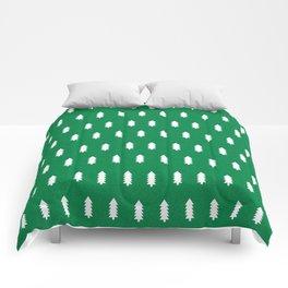 Christmas Trees minimal modern green and white holiday christmas decor Comforters