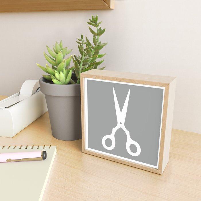 Grey Scissors Framed Mini Art Print