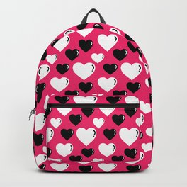 Black and Pink Hearts Pattern 027#001 Backpack