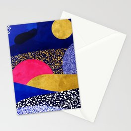 Terrazzo galaxy blue night yellow gold pink Stationery Cards