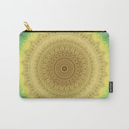 Tie Dye Sunflower Cloth Woven Sun Ray Pattern \\ Yellow Green Blue Purple Color Scheme Carry-All Pouch