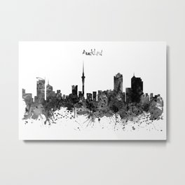 Auckland Black and White Watercolor Skyline Metal Print