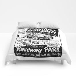 Midget Auto Races, Race poster, vintage poster, bw Comforters