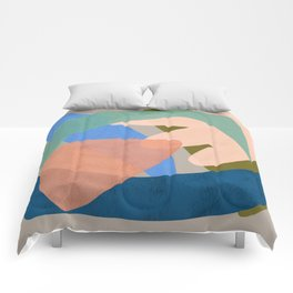 Shapes and Layers no.30 - Large Organic Shapes Blue Pink Green Gray Comforters