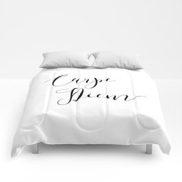 Carpe Diem Minimalist Art Print Comforters