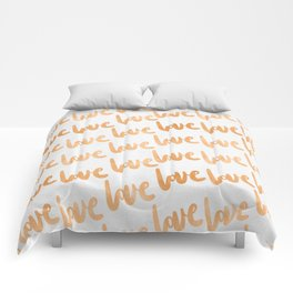 Love Gold Copper Bronze Pattern Comforters