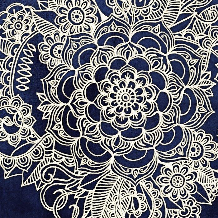 Cream Floral Moroccan Pattern on Deep Indigo Ink Leggings