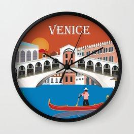 Venice, Italy - Skyline Illustration by Loose Petals Wall Clock