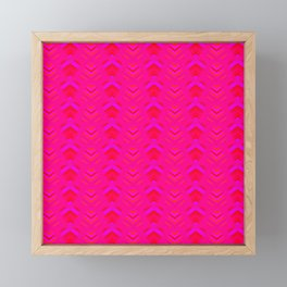 Pattern of intersecting hearts and purple stripes on a pink background. Framed Mini Art Print