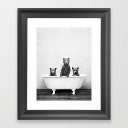 Three Bears in a Vintage Bathtub (bw) Framed Art Print