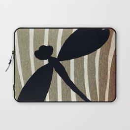Vintage Zebra Stripe Dragonfly Silhouette Laptop Sleeve