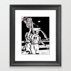 Tim Duncan vs. Father Time Framed Art Print