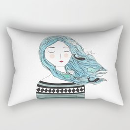 Whales in my hair Rectangular Pillow