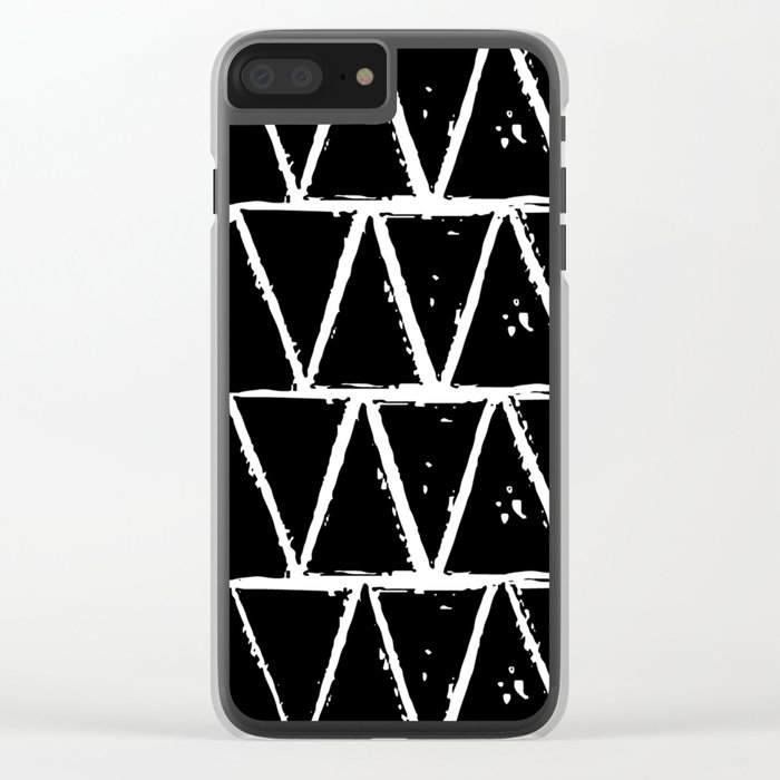 Simple Geometric Zig Zag Pattern- White on Black -Mix & Match with Simplicity of life Clear iPhone Case