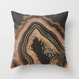 Brown Agate Gold Foil Glam #1 #gem #decor #art #society6 Throw Pillow