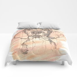 Vizsla Puppy Watercolor Painting Comforters