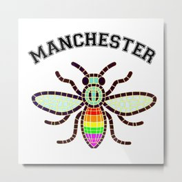 Manchester bee LGBT rainbow colours  Metal Print