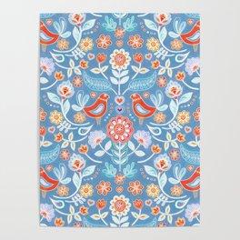 Happy Folk Summer Floral on Light Blue Poster