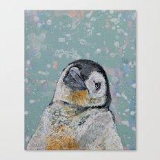 Baby Penguin Snowflakes Canvas Print
