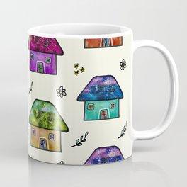Hand Painted Watercolor Milky Way Roof Top Houses Coffee Mug
