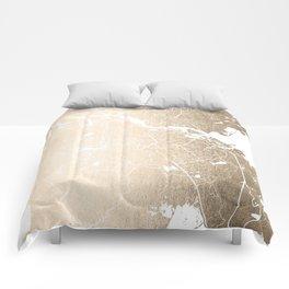 Amsterdam Gold on White Street Map II Comforters