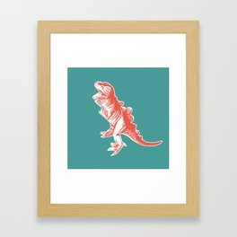 Dino Pop Art - T-Rex - Teal & Dark Orange Framed Art Print