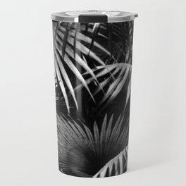 Tropical Botanic Jungle Garden Palm Leaf Black White Travel Mug
