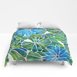 Water Lilies – Blue & Green Palette Comforters