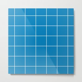 White Grid - Blue BG Metal Print