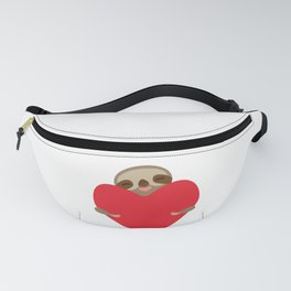 Valentines day card. Funny sloth with a red heart Fanny Pack
