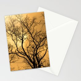 Orange sky, naked trees, haunting forest Stationery Cards