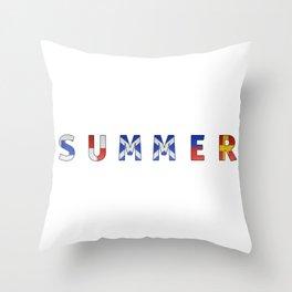 Summer - Navy Code Throw Pillow